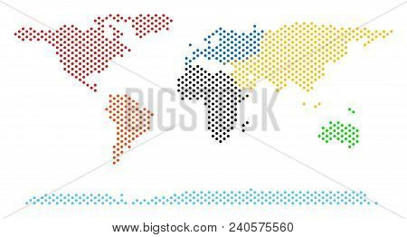Pixel World Continent Map. Vector Geographical Scheme. Cartographic Composition Of World Continent M