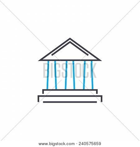 Financial Institution Vector Thin Line Stroke Icon. Financial Institution Outline Illustration, Line