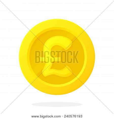 Vector Illustration In Flat Style. Gold Coin Of British Pound. Cash Money. Symbol Of Business, Econo
