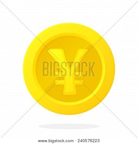 Vector Illustration In Flat Style. Gold Coin Of Japanese Yen Or Chinese Yuan. Cash Money. Symbol Of