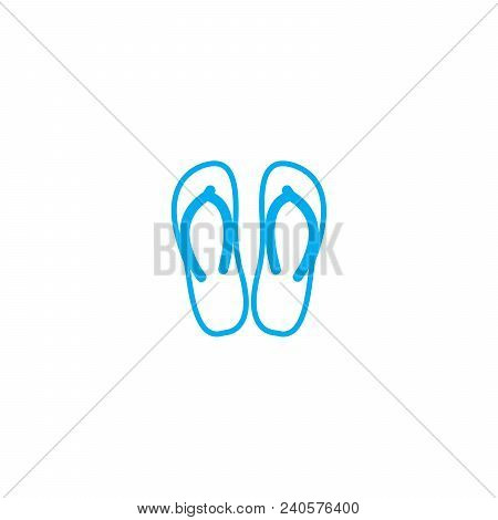Flip Flops Vector Thin Line Stroke Icon. Flip Flops Outline Illustration, Linear Sign, Symbol Isolat