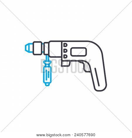 Hammer Drill Vector Thin Line Stroke Icon. Hammer Drill Outline Illustration, Linear Sign, Symbol Is