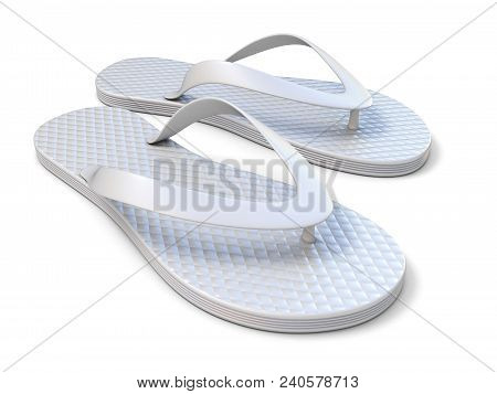 Pair Of White Flip Flops 3d Rendering Illustration