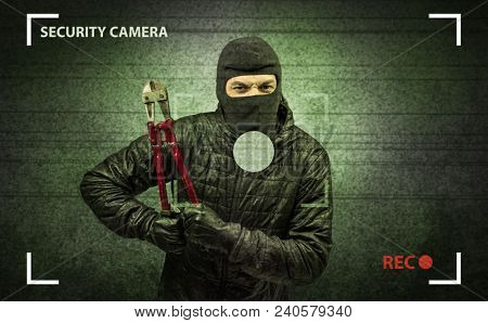 Caught burglar by house camera in action.