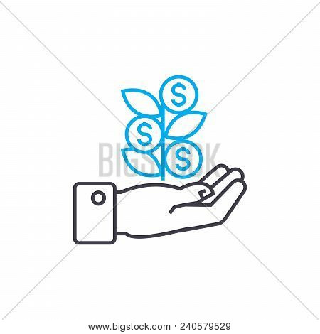 Initial Income Vector Thin Line Stroke Icon. Initial Income Outline Illustration, Linear Sign, Symbo