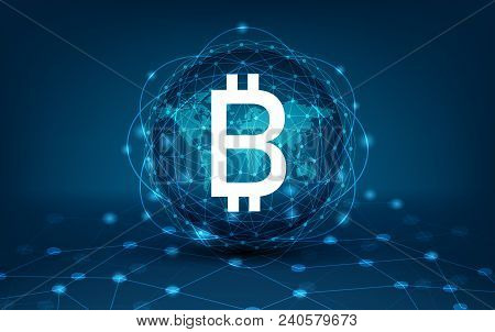 Bitcoin Block Chain World Map Security System Digital Currency Financial Business In The Online Worl