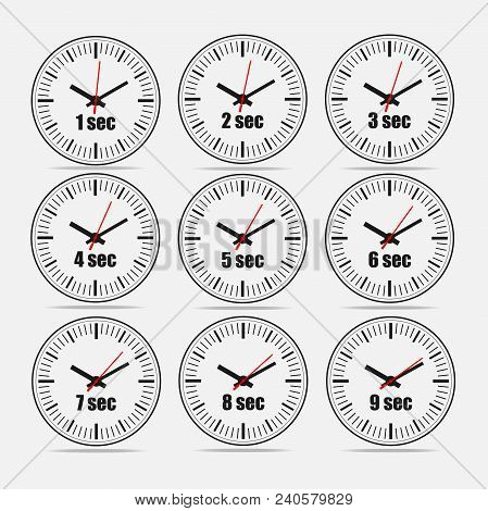 Vector illustration, increments from 1 to 9, one second interval, 3 rows and 3 columns on grey background, for business or education. Watches in flat design. Watches set 1. poster