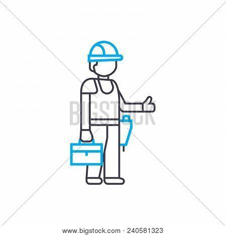 Master Builder Vector Thin Line Stroke Icon. Master Builder Outline Illustration, Linear Sign, Symbo