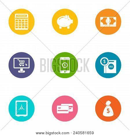 Money Supply Icons Set. Flat Set Of 9 Money Supply Vector Icons For Web Isolated On White Background