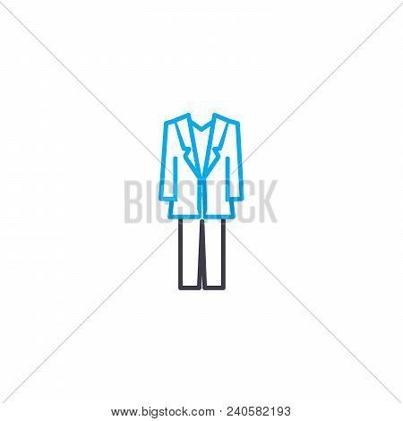 Men's Suit Vector Thin Line Stroke Icon. Men's Suit Outline Illustration, Linear Sign, Symbol Concep