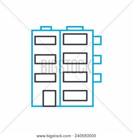 Multi Storey Buildings Vector Thin Line Stroke Icon. Multi Storey Buildings Outline Illustration, Li