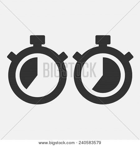 Stopwatch Vector Icon On Gray Background. Fourty Seconds. Eps 10 Vector.