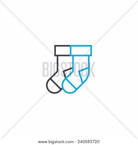 Pair Of Socks Vector Thin Line Stroke Icon. Pair Of Socks Outline Illustration, Linear Sign, Symbol