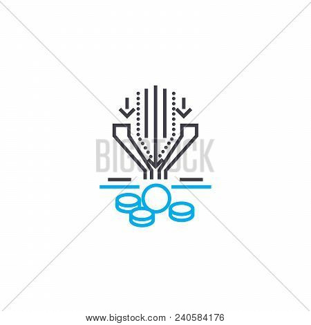 Profit From Turnover Vector Thin Line Stroke Icon. Profit From Turnover Outline Illustration, Linear