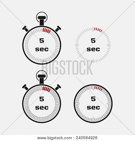 Timer 5 Seconds On Gray Background . Stopwatch Icon Set. Timer Icon. Time Check. Seconds Timer, Seco
