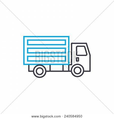 Refrigerated Truck Vector Thin Line Stroke Icon. Refrigerated Truck Outline Illustration, Linear Sig