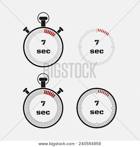 Timer 7 Seconds On Gray Background . Stopwatch Icon Set. Timer Icon. Time Check. Seconds Timer, Seco