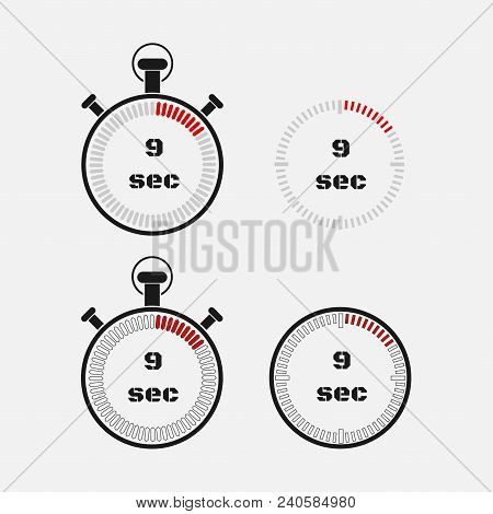 Timer 9 Seconds On Gray Background . Stopwatch Icon Set. Timer Icon. Time Check. Seconds Timer, Seco