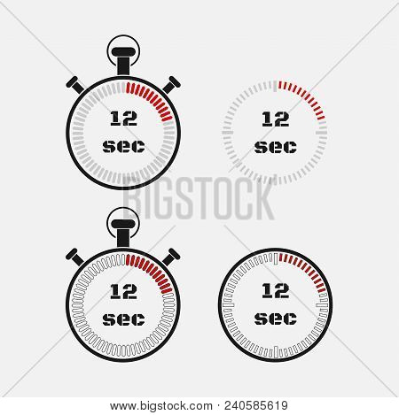 Timer 12 Seconds On Gray Background . Stopwatch Icon Set. Timer Icon. Time Check. Seconds Timer, Sec