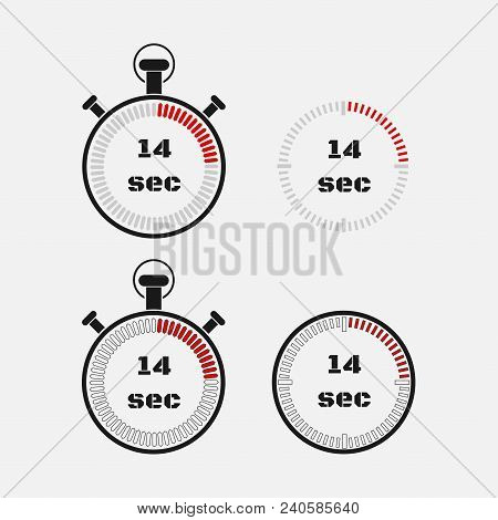 Timer 14 Seconds On Gray Background . Stopwatch Icon Set. Timer Icon. Time Check. Seconds Timer, Sec