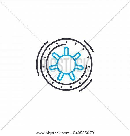 Safe Depositing Vector Thin Line Stroke Icon. Safe Depositing Outline Illustration, Linear Sign, Sym