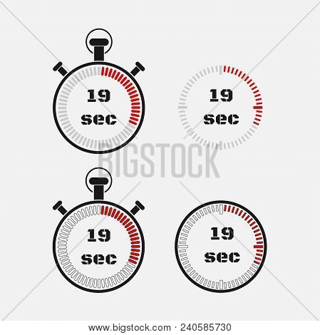 Timer 19 Seconds On Gray Background . Stopwatch Icon Set. Timer Icon. Time Check. Seconds Timer, Sec
