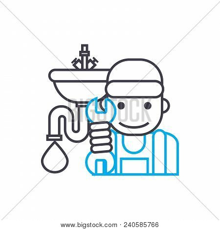 Sanitary Technician Vector Thin Line Stroke Icon. Sanitary Technician Outline Illustration, Linear S