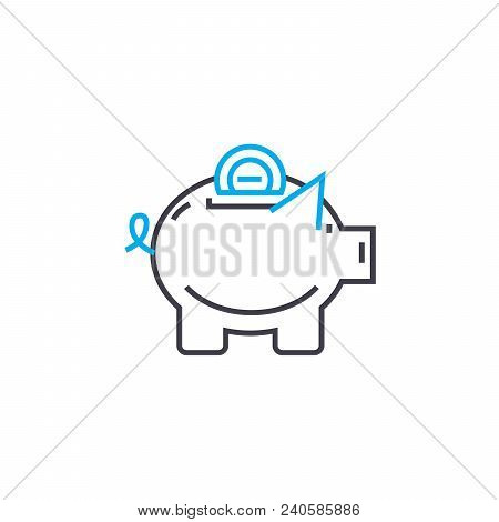 Savings Fund Vector Thin Line Stroke Icon. Savings Fund Outline Illustration, Linear Sign, Symbol Is