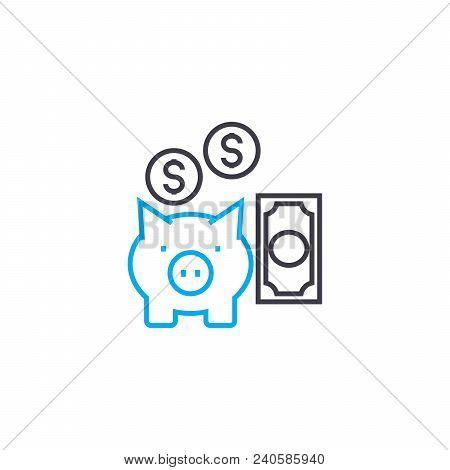 Savings Management Vector Thin Line Stroke Icon. Savings Management Outline Illustration, Linear Sig