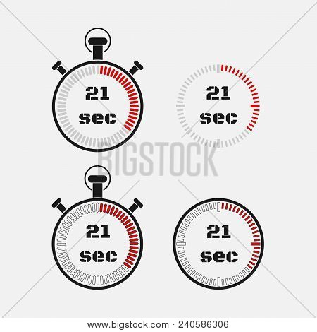 Timer 21 Seconds On Gray Background . Stopwatch Icon Set. Timer Icon. Time Check. Seconds Timer, Sec