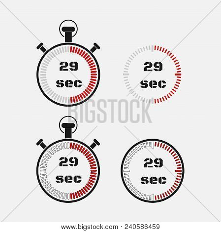 Timer 29 Seconds On Gray Background . Stopwatch Icon Set. Timer Icon. Time Check. Seconds Timer, Sec