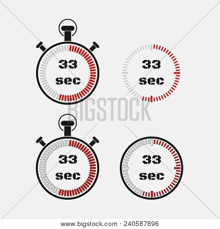 Timer 33 Seconds On Gray Background . Stopwatch Icon Set. Timer Icon. Time Check. Seconds Timer, Sec