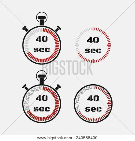Timer 40 Seconds On Gray Background . Stopwatch Icon Set. Timer Icon. Time Check. Seconds Timer, Sec