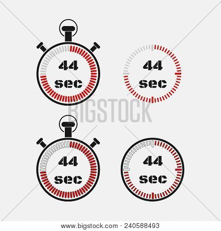 Timer 44 Seconds On Gray Background . Stopwatch Icon Set. Timer Icon. Time Check. Seconds Timer, Sec