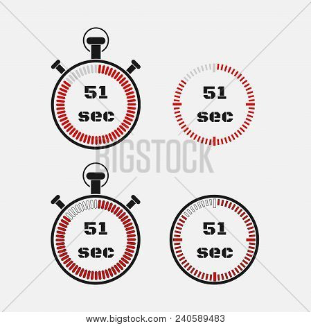 Timer 51 Seconds On Gray Background . Stopwatch Icon Set. Timer Icon. Time Check. Seconds Timer, Sec