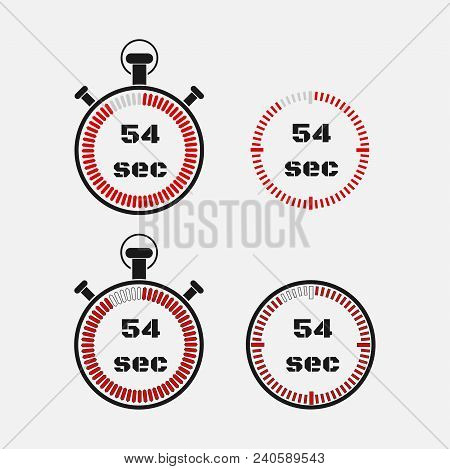Timer 54 Seconds On Gray Background . Stopwatch Icon Set. Timer Icon. Time Check. Seconds Timer, Sec