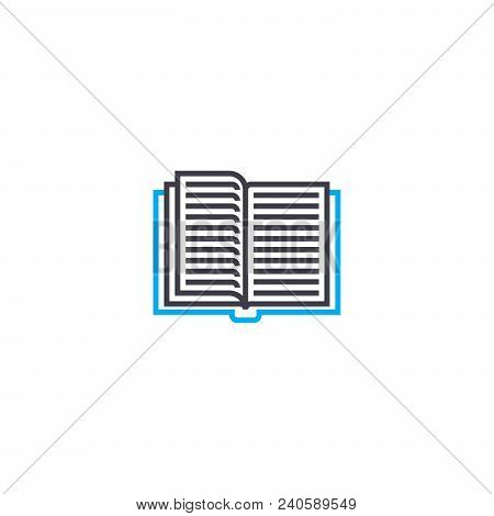 Thumbing Through A Book Vector Thin Line Stroke Icon. Thumbing Through A Book Outline Illustration,