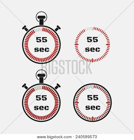 Timer 55 Seconds On Gray Background . Stopwatch Icon Set. Timer Icon. Time Check. Seconds Timer, Sec
