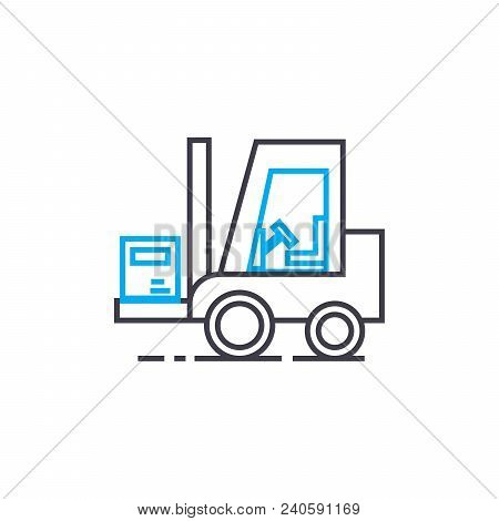 Warehouse Works Vector Thin Line Stroke Icon. Warehouse Works Outline Illustration, Linear Sign, Sym