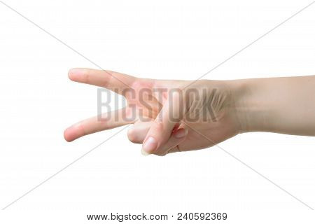 Woman Hand With Pale Skin With Two Fingers Up In The Peace Or Victory Symbol. Also The Sign For The