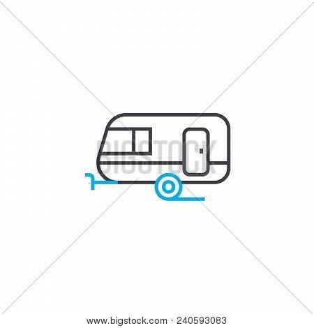 Passenger Trailer Vector Thin Line Stroke Icon. Passenger Trailer Outline Illustration, Linear Sign,
