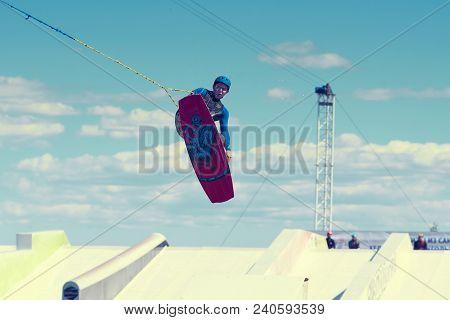 Saint-petersburg, Russia, June 04 2016: Skillful Young Caucasian Sportsman Training On City Lake, Ri