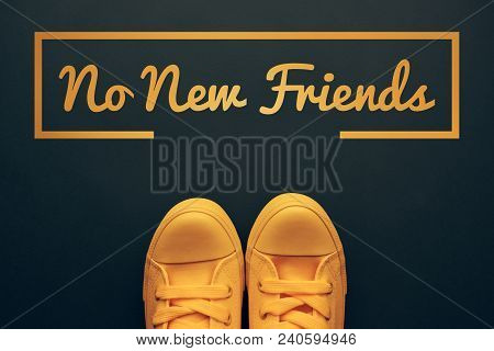 Words And Phrases Millennials Use, Conceptual Image With Young Person In Yellow Sneakers Standing Di