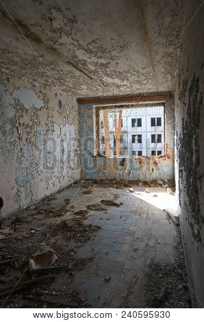 Interior Of A Ruined Dwelling House Of Soviet Soldiers And Their Families In The Former Military Are