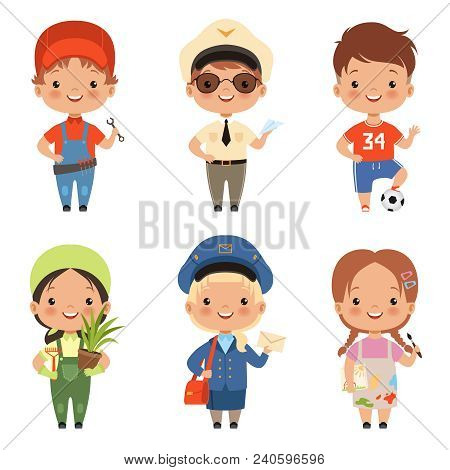 Funny Cartoon Children Characters Of Various Professions. Character Profession Child And Kids, Boy A