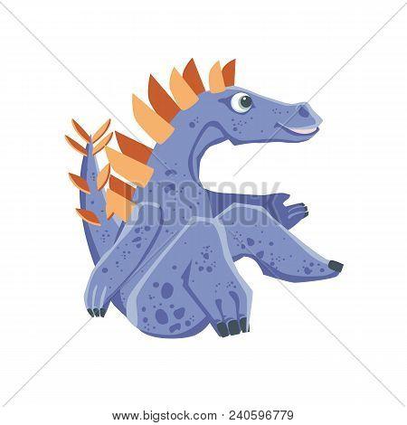 Vector Image Of Sitting Purple Cute Baby Stegosaurus