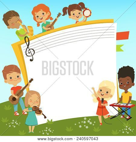 Cartoon Frame With Musician Childrens And Empty Place For Your Personal Text. Vector Musician Child