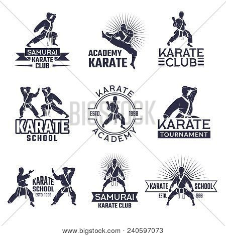 Design Of Martial Sport Labels Set. Monochrome Badges Set Isolate On White. Karate School Or Academy