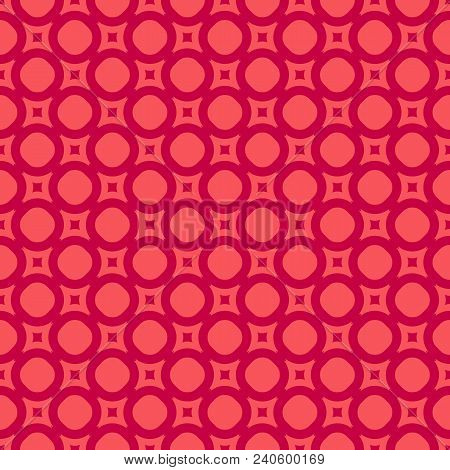 Elegant Red Seamless Pattern. Abstract Geometric Background With Simple Figures, Circles And Squares