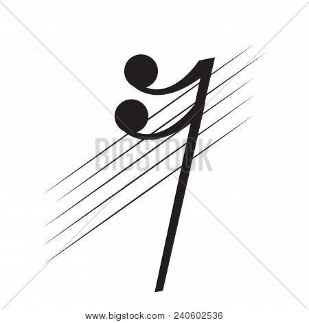 Isolated Sixteenth Rest Note On A Pentagram. Vector Illustration Design